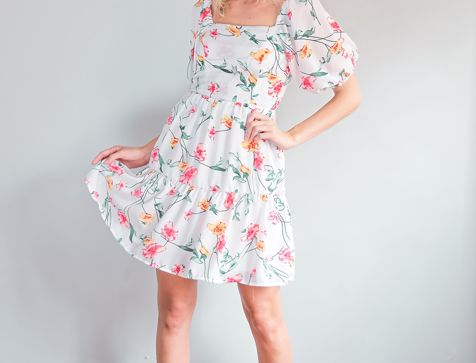 Amber Dress- White Floral