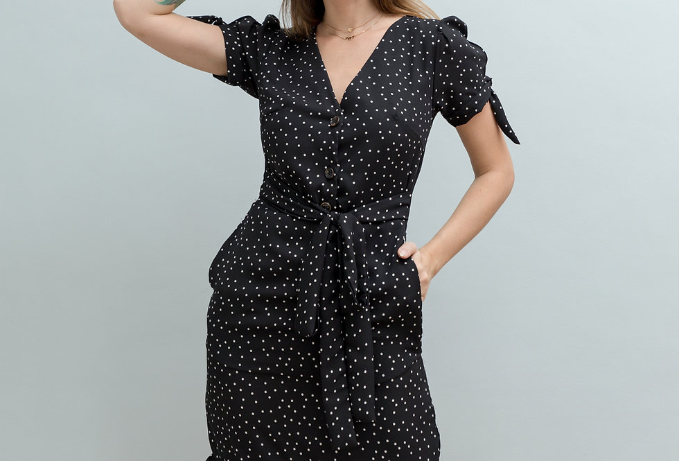 Polly Dress- Black Polka