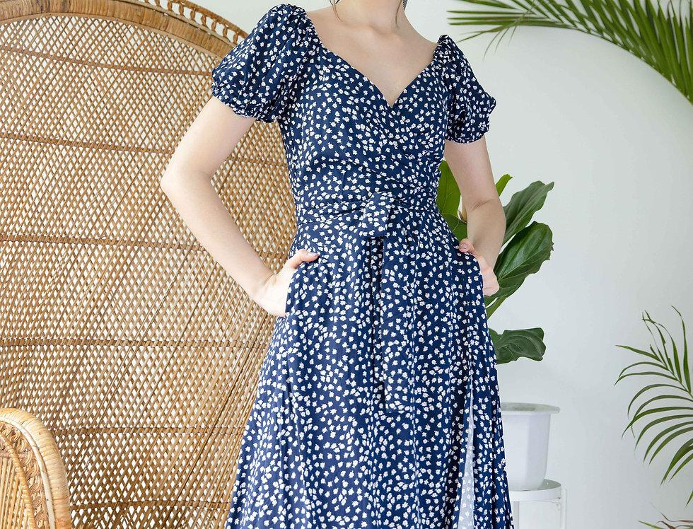 Charlie Dress- Cobalt Floral