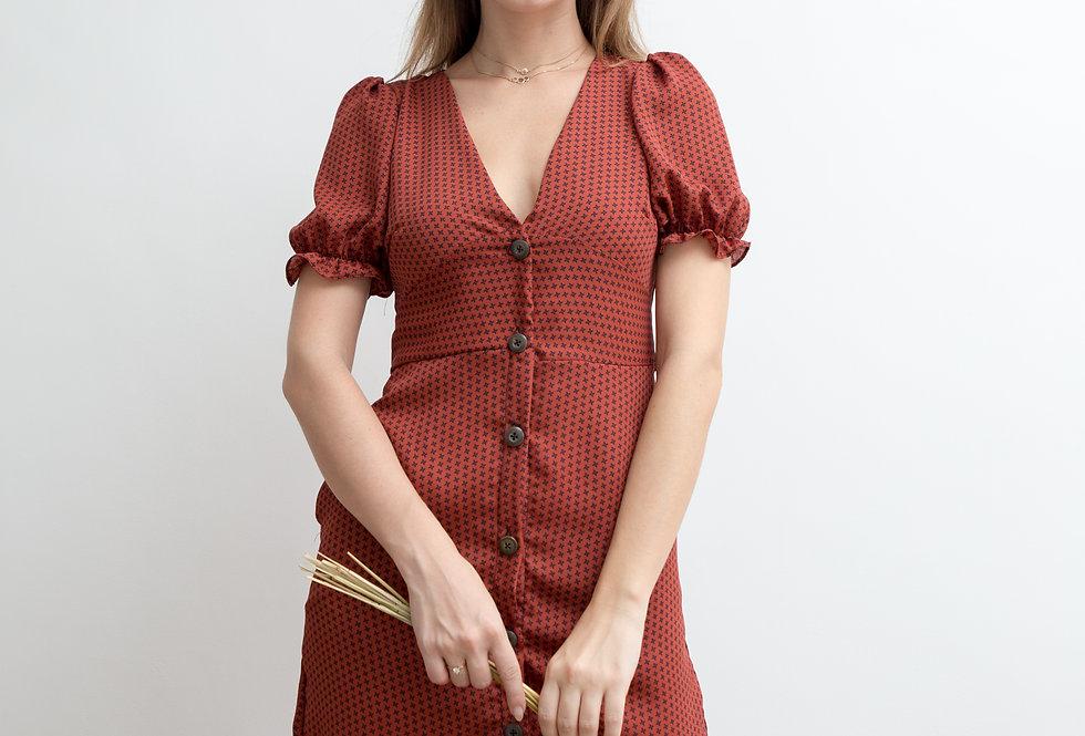 Harper Dress- Rust Printed