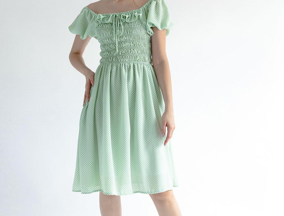 Priscilla Dress- Mint Polka