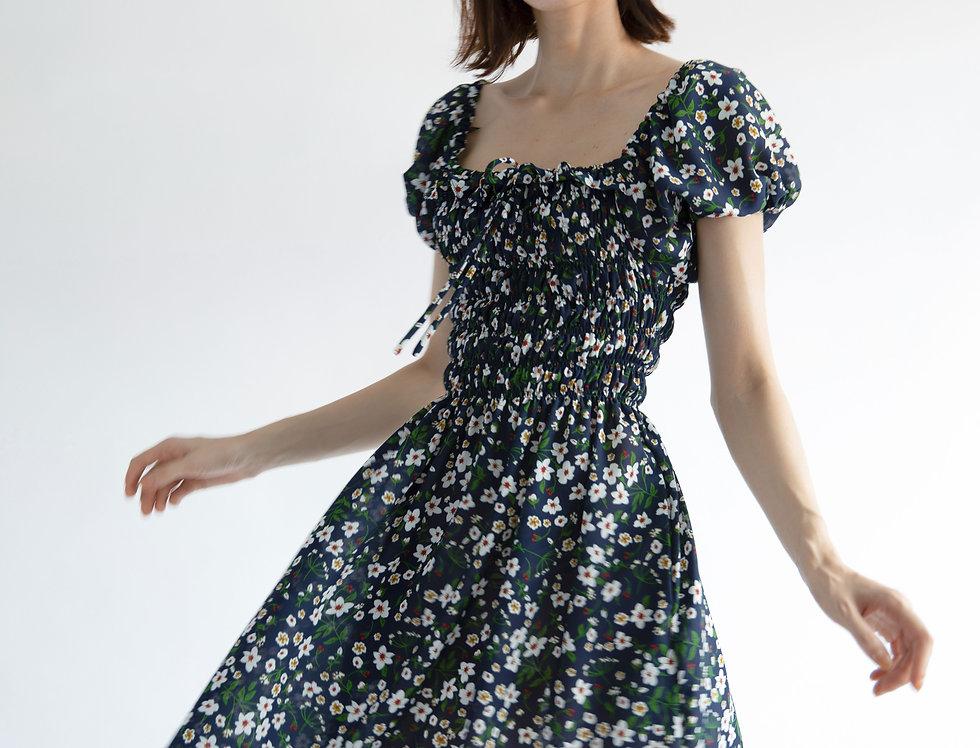 Priscilla Dress- Midnight Blue Floral