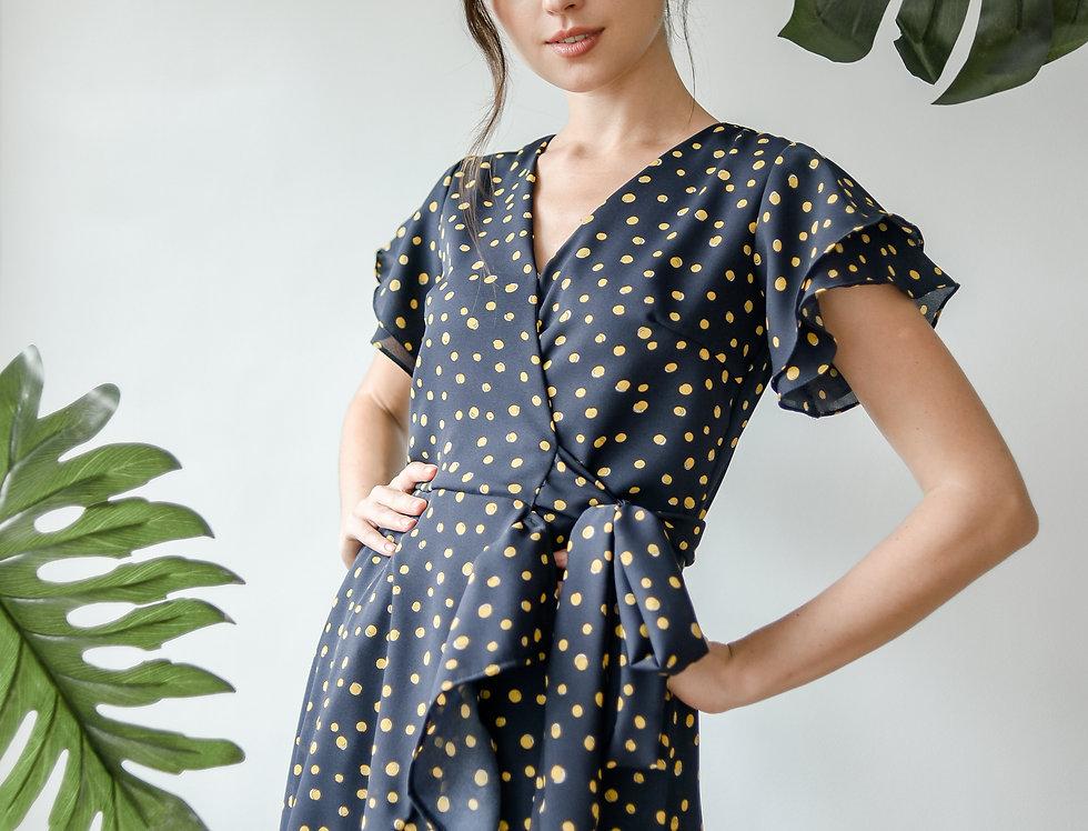 Faye Wrap Dress- Yellow Dots