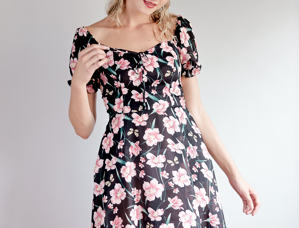 Carter Dress- Black Floral