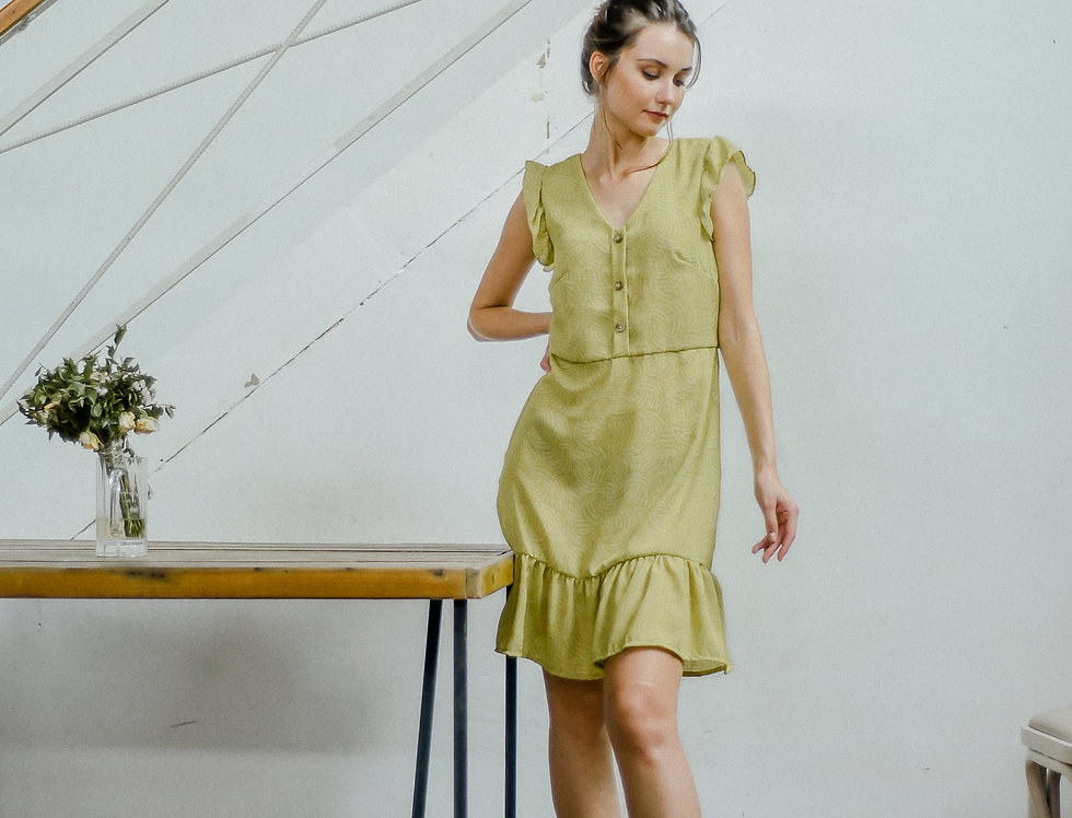 Tanya Dress: Apple Green