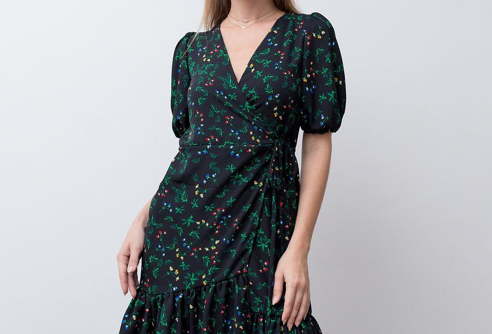 Olivia Wrap Dress- Black Floral