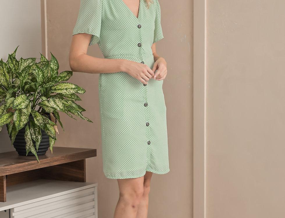 Brooke Dress- Mint Polka
