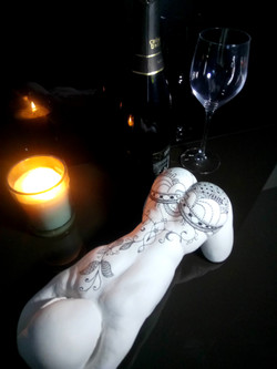 Buste marbre tatoué Sharanga