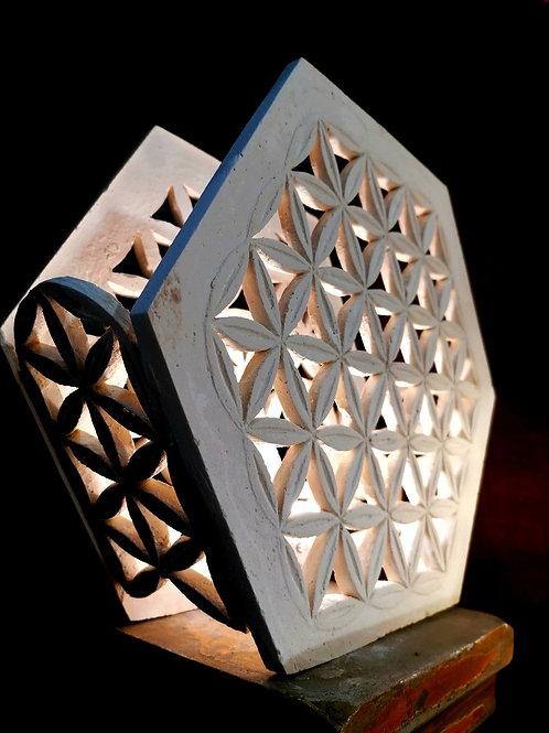 Lampe fleur de vie 2 faces ajourées -  Sharanga Design
