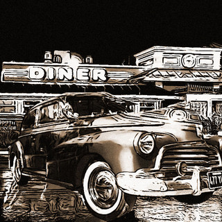 46 Fleetmaster in sepia at the diner