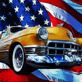 Cadillac taken in North Weald with Stars & Stripes Background