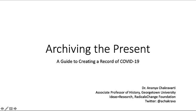This guide is based on a lecture I developed for my students as we transitioned to an online learning environment. It provides a basic framework for thinking about what it means for an event to be of world historical importance and why COVID-19 qualifies as such; a primer on primary sources and archives, with examples drawn from the 1918 Spanish Flu Pandemic; and a guide to begin archiving COVID-19.