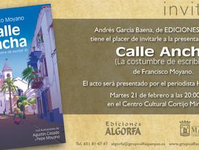 """El profesor de Historia Paco Moyano presenta su libro """"Calle Ancha"""""""