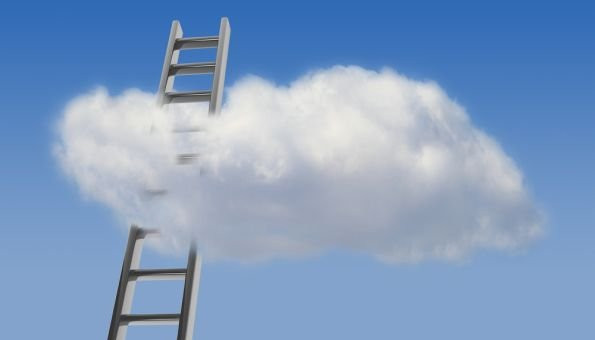 Think Differently - clouds and blue sky with ladder going up