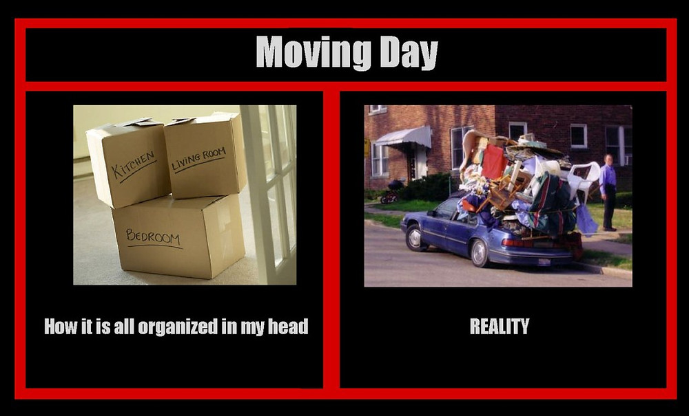 Think Differently - moving day - dreaming of organized boxes to unorganized reality