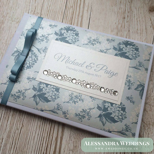 Blue Floral Guestbook