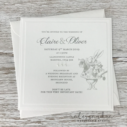 Subtle Alice in Wonderland Flat Invitation Sample (White Rabbit)