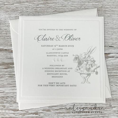 Subtle Alice in Wonderland Flat Invitation (White Rabbit)