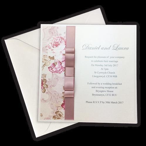 Blush Pink Floral Square Invitation
