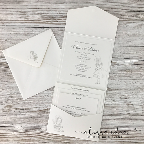 Subtle Alice in Wonderland Pocketfold Invitation