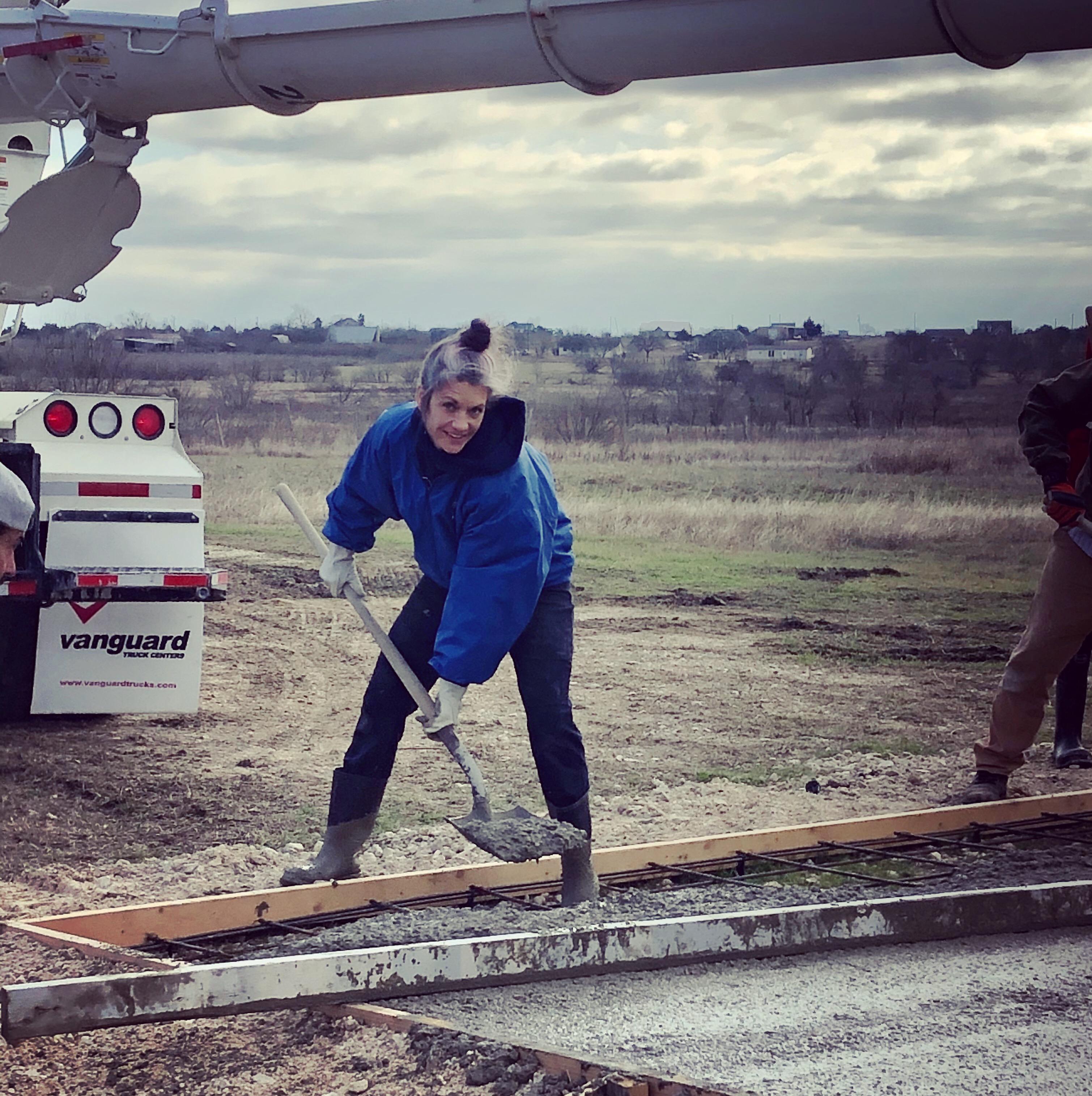 Elaine Volunteering at concrete pour