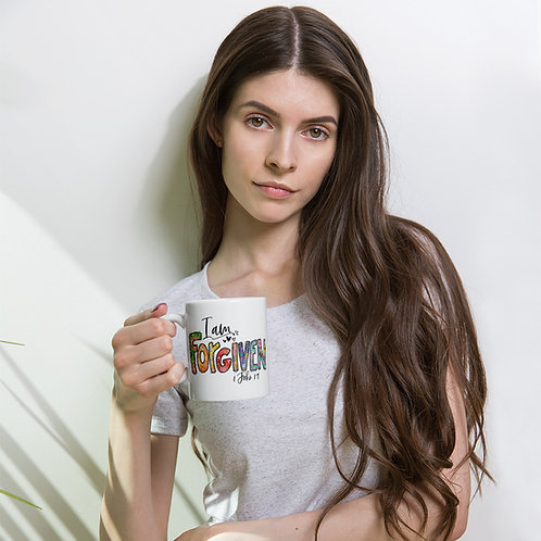 I Am Forgiven   White glossy mug