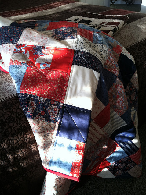 Lap Quilt - Sliced layer cake.