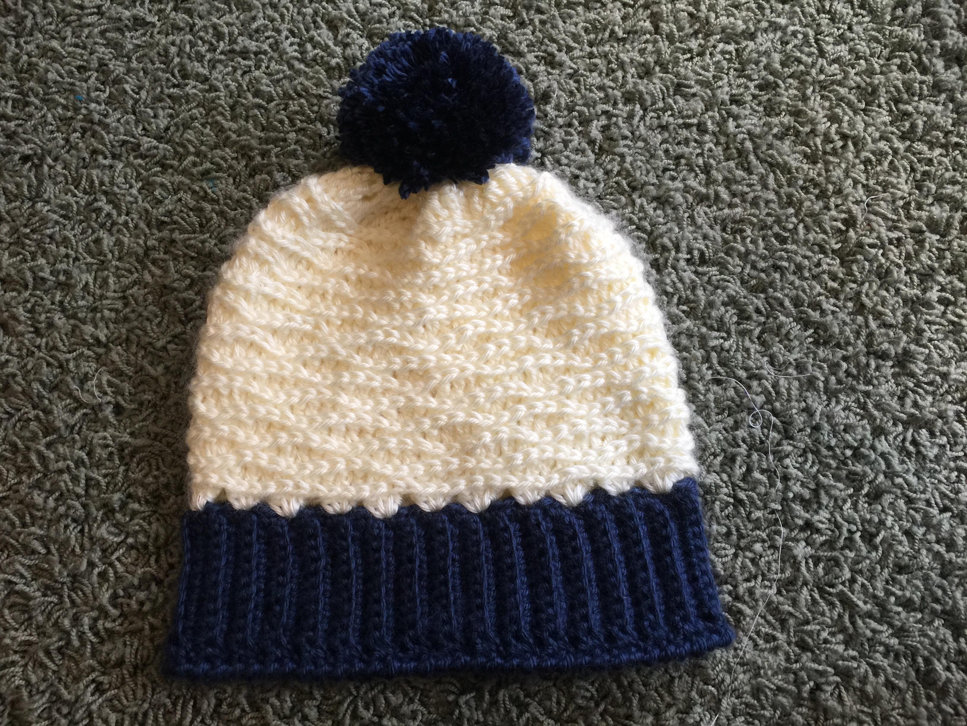 Cream & Navy Winter Hat