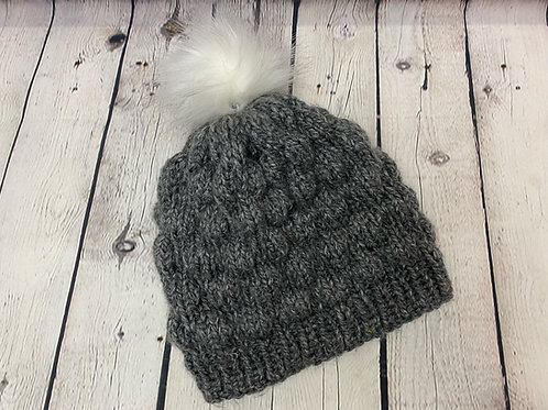 Gray Hand Knitted Chunky Beanie