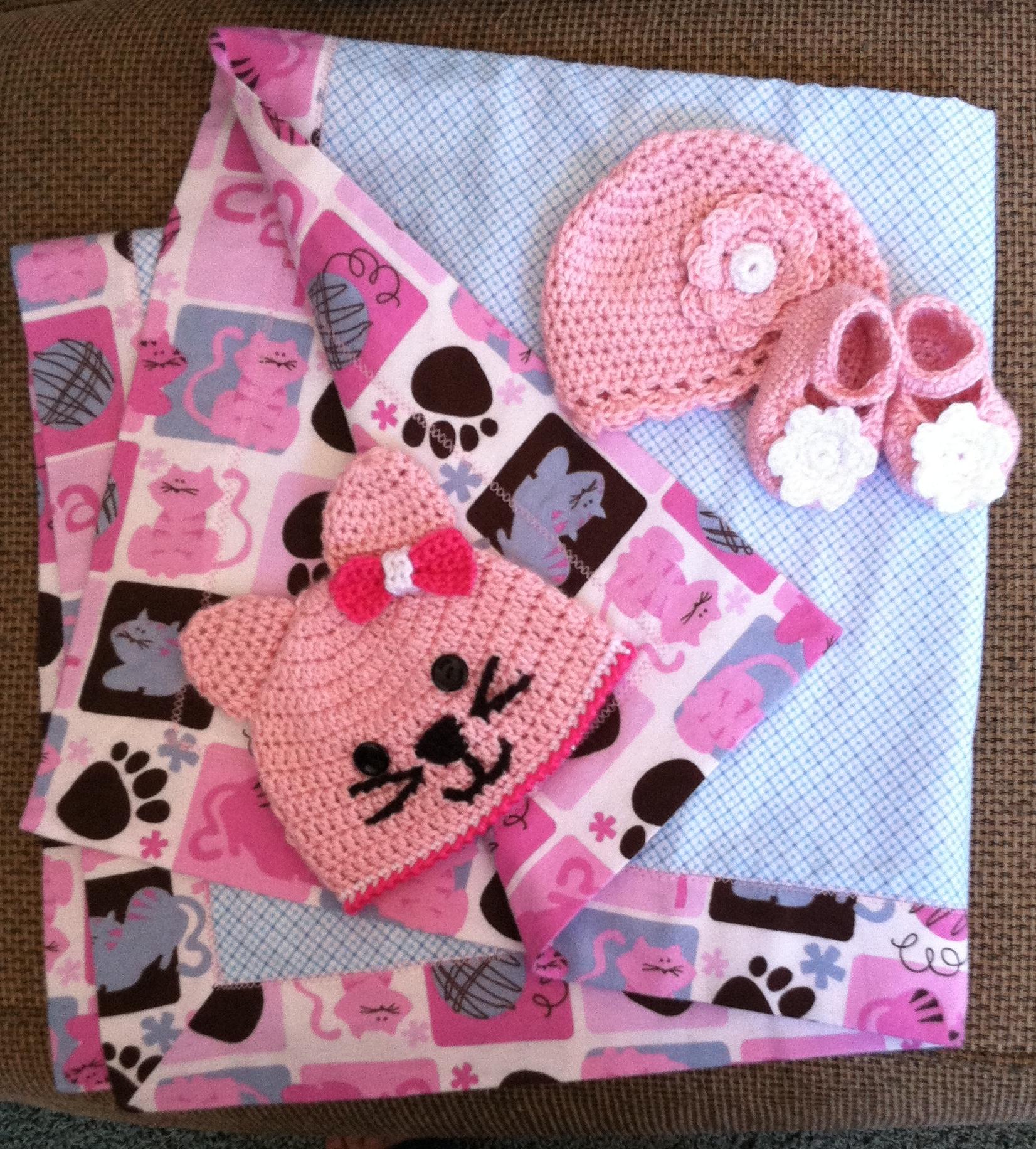 Baby Girl Blanket, Hat and Booties