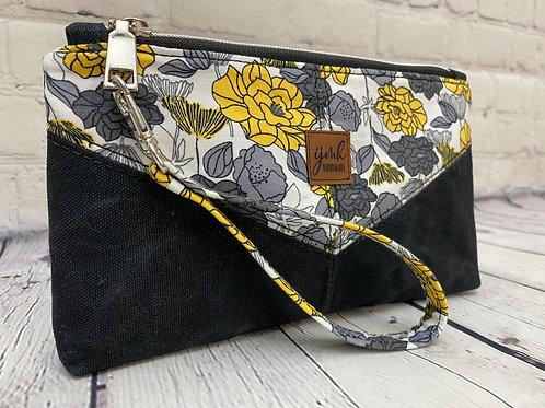 Gray Floral Harlequin Wristlet