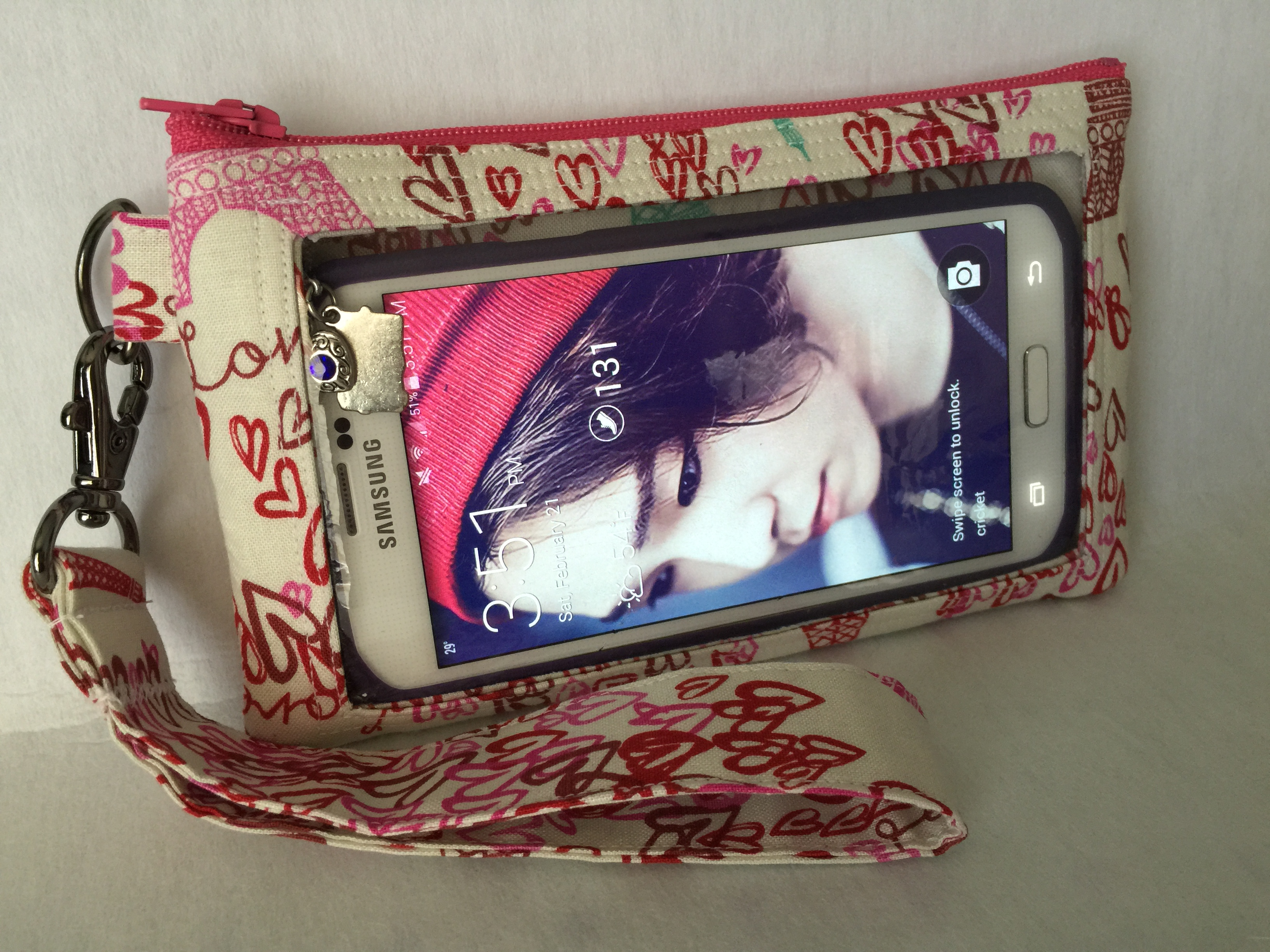Hearts & Paris Cell Phone Clutch