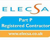 Logo of endorsement from ELECSA showing She Sparks is a Part P Registered Contractor.