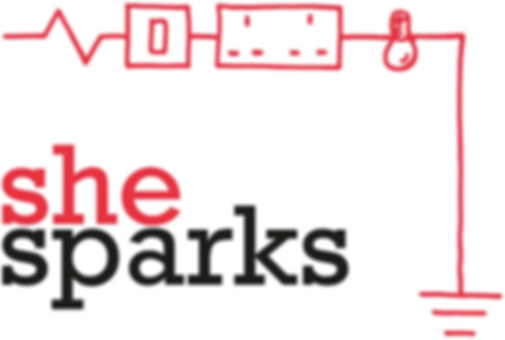 She Sparks logo. She written in red, sparks written in black. Scientific drawing of an electrical ciruit showing a switch, socket, bulb and battery in red as frame around the top and right hand side of the words.