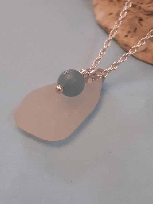Isle of Arran Seaglass with Turquoise Necklace