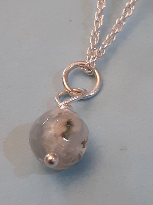Faceted Agate Sterling Silver Necklace