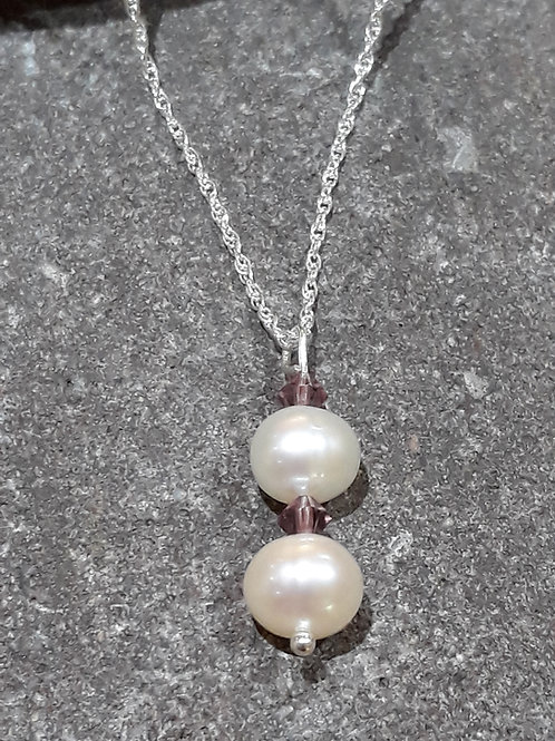 Freshwater Pearls with Amethyst Crystals