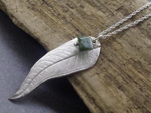Handmade Silver Buddleja Leaf Necklace