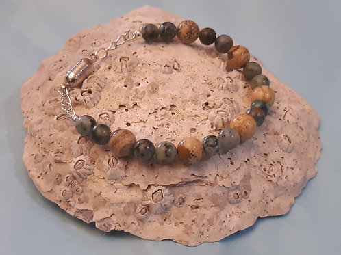 African Turquoise & Fossil Agate Bracelet