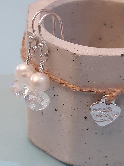 Freshwater Pearl & Crystal Sterling Silver Earrings