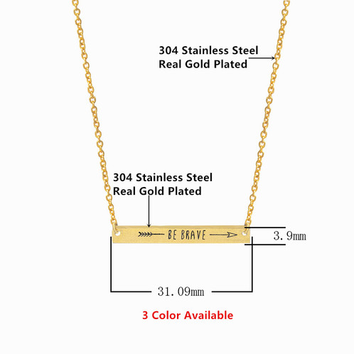 Be brave with arrow engraved bar pendant necklace mamatuckshop necklace length 38cm 5cm pendant size 311mm 39mm aloadofball Image collections