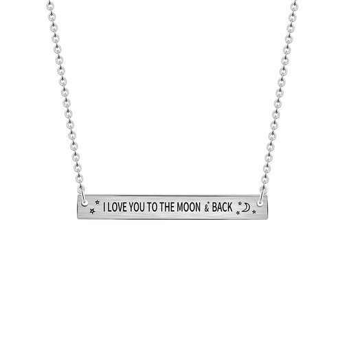 I love you to the moon back engraved bar pendant necklace necklace length 45cm aloadofball Image collections