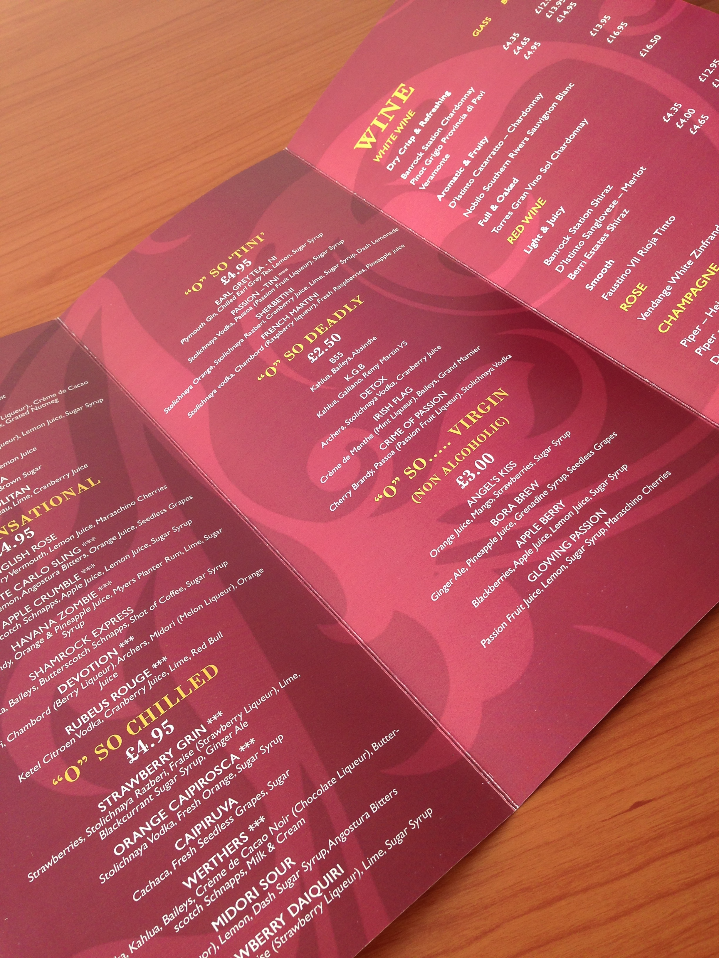 DL Folded Menu Printing