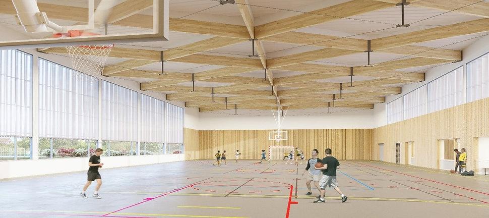 Modélisation 3D de l'intérieur du gymnase du lycée Eugène Decomble à Chaumont