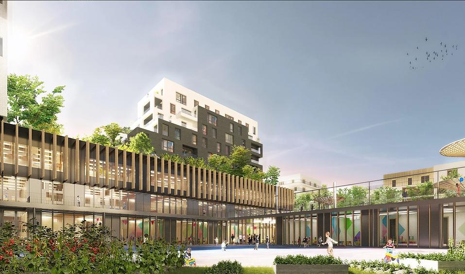 Modélisation 3D du groupe scolaire et des logements à Rosny-sous-Bois