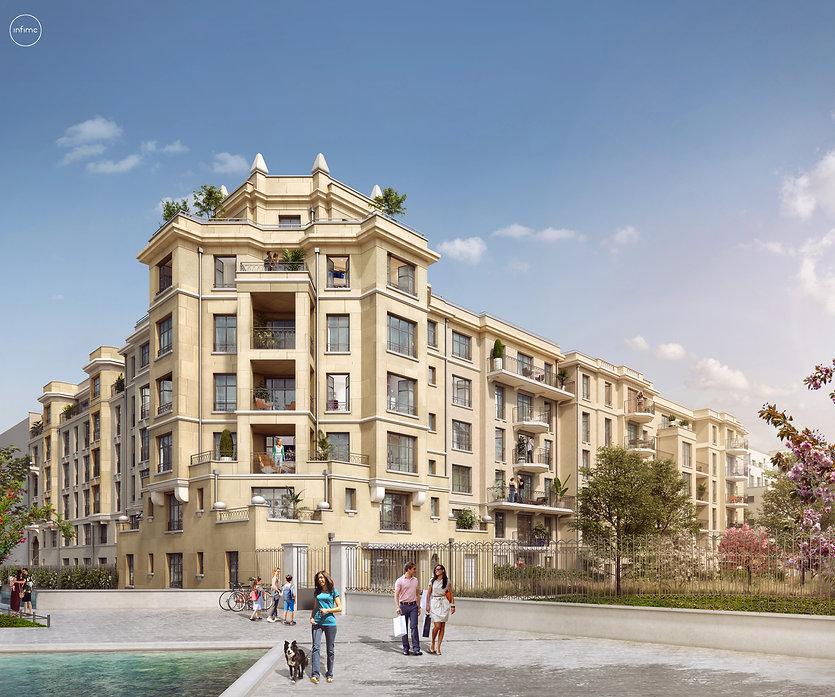 Modélisation 3D de l'ensemble de 4 immeubles à Clamart
