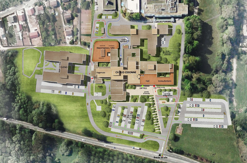 Carte du Centre Hospitalier Sud Essonne à Dourdan-Etampes