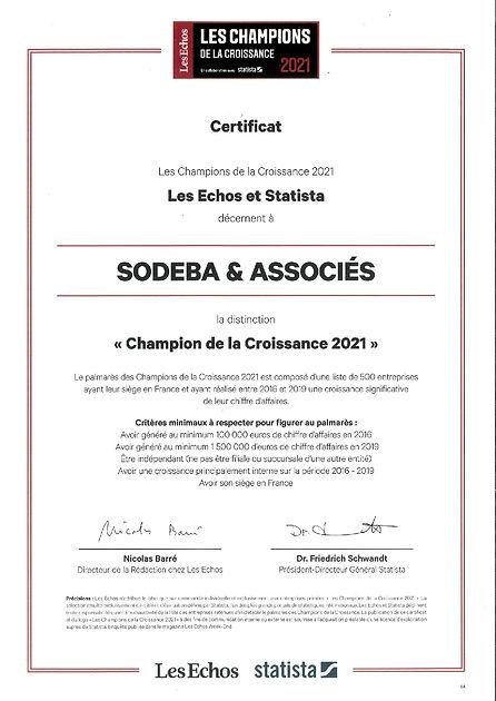 Certificat Les Champions de la croissance 2021 Sodeba & Associes