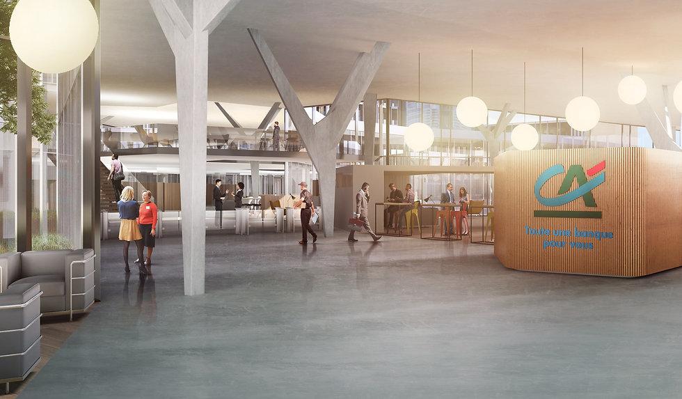 Modélisation 3D de l'intérieur du Campus du Crédit Agricole Centre Est à Champagne-au-Mont-d'Or