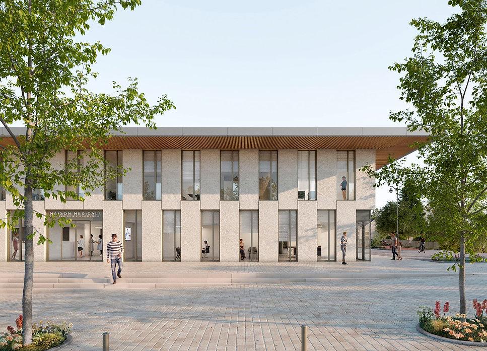 Modélisation 3D de la maison médicale et du centre socio-médical à Maule (78)